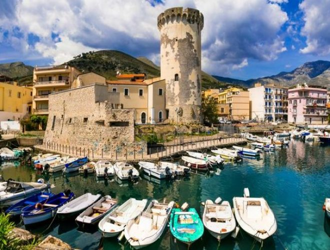 Beautiful coastal places of Italy - Formia town with medieval fo